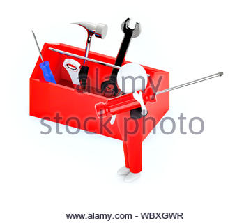 3d white guy , holding a screw driver -toolkit - 3d rendering - Stock Photo