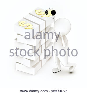 3d white guy , walk with holding golden trophy -stack of money notes - 3d rendering - Stock Photo