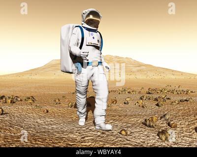 Man exploring Mars - Stock Photo