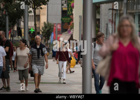Escaldes Engordany, Andorra : 2019 August 22 :  Andorra La Vella. People Walk in the Comercial Street named Carlemany. Escaldes Engordany, Andorra - Stock Photo