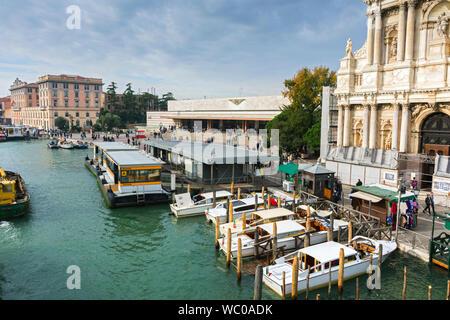 The Venezia Santa Lucia railway station and the church of Santa Maria di Nazareth, from the Ponte degli Scalzi bridge, Grand Canal, Venice, Italy - Stock Photo