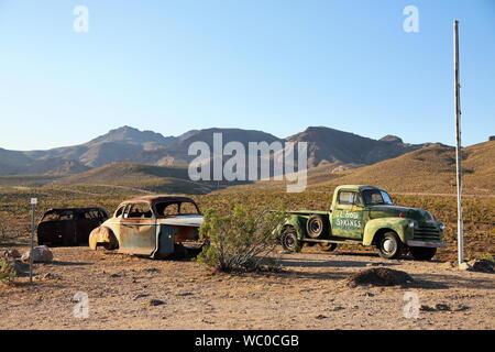 Route 66 Arizona / USA - 04 29 2013: Pickup on Route 66 in Arizona - Stock Photo