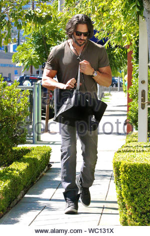 West Hollywood, CA - 'True Blood' star Joe Manganiello stopped at Barker Black Ltd to pick up a new pair of shoes, Barker Black is a British luxury footwear brand specializing in bench-made shoes for men. Joe holds a BFA in acting from the Carnegie Mellon School of Drama, today he wore a dark tee, gray jeans and matching high top designer sneakers. AKM-GSI, June 10, 2013 - Stock Photo
