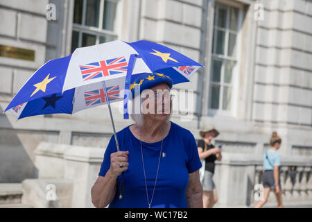 Westminster, London, UK. 27 August 2019. Pro-Europe supporter demonstrates outside Cabinet Office. Opposition MPs take first steps towards trying to block a no-deal Brexit as the UK prepares to leave the EU on 31 October with or without a deal. - Stock Photo