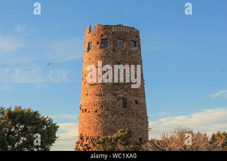 View of Desert View Watchtower located on South Rim of Grand Canyon National Park, Arizona - Stock Photo
