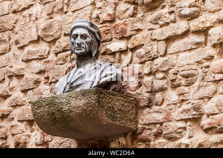 Bust of Dante in Florence, Italy. - Stock Photo