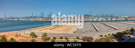 Algeciras, Cadiz, Spain - August 10, 2019: Panoramic view of the sea port of Algeciras, Spain, with the Rock of Gibraltar in the background - Stock Photo