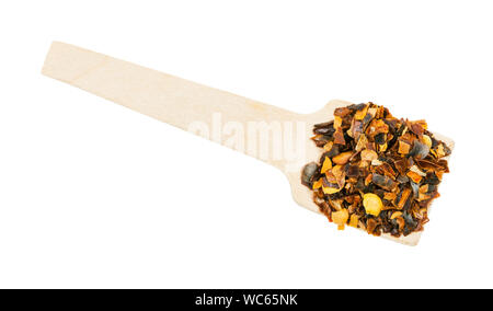 top view of portion of dried and chopped guajillo chili pepper isolated on white background - Stock Photo