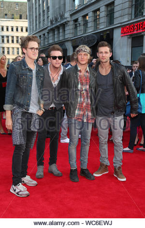 London, UK - Tom Fletcher, Danny Jones, Dougie Poynter and Harry Judd of McFly attend the world premiere of 'One Direction: This Is Us' at Empire Leicester Square in London. AKM-GSI, August 20, 2013 - Stock Photo