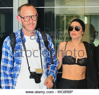 New York, NY - Lady Gaga and Celebrity Photographer Terry Richardson leave together the rehearsal for the MTV Video Music Awards this afternoon in New York City. AKM-GSI, August 24, 2013 - Stock Photo