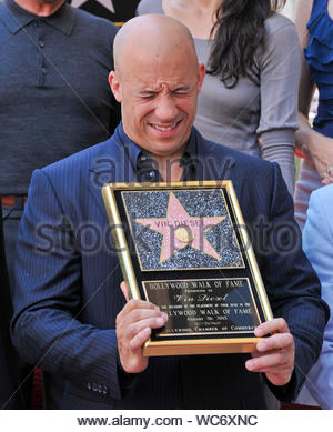 "Hollywood, CA - Actor and filmmaker Vin Diesel received the 2,504th star on the Hollywood Walk of Fame today, two days before the premiere of his latest movie, ""Riddick."",Katee Sackhoff, Jordana Brewster, Paul Walker and Michelle Rodriguez, who co-starred with Diesel in the ""Fast & Furious"" film series, and Ron Meyer, president and COO of Universal Studios joined the star, who brought along his partner Paloma Jiménez and their cute daughter Hania Riley. AKM-GSI, August 26, 2013 - Stock Photo"