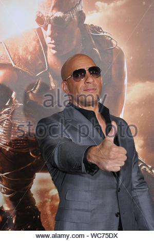 Westwood, CA - Vin Diesel arrives at the premiere of 'Riddick' held at the Regency Village Theatre in Westwood. AKM-GSI, August 28, 2013 - Stock Photo