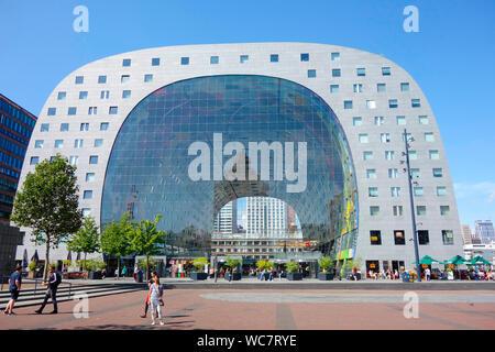 Market Hall Markthal Rotterdam, the Netherlands. - Stock Photo