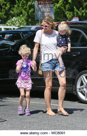 West Hollywood, CA - Rebecca Gayheart and her cute daughters Billie Beatrice and Georgia Dane step out on this beautiful Sunday for some grocery shopping at Bristol Farms. AKM-GSI, September 8, 2013 - Stock Photo