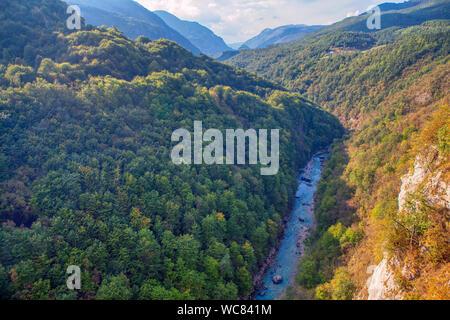 aerial scenery of Tara river in Montenegro - Stock Photo