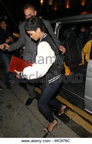 London, UK - Rihanna and Cara Delevingne arrive at Nozomi restaurant in Knightsbridge, London for dinner together. AKM-GSI, September 10, 2013 - Stock Photo