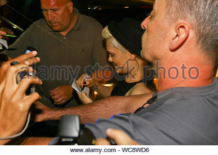 Rio de Janeiro, Brazil - English singer-songwriter Jessie J says goodbye to her fans outside her hotel before heading to the Airport to catch a departing flight back home. AKM-GSI, September 16, 2013 - Stock Photo