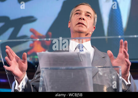 Beijing, Britain. 27th Aug, 2019. Brexit Party leader Nigel Farage makes a speech in London, Britain, on Aug. 27, 2019. Nigel Farage said the newly formed Brexit Party plans to contest all 650 parliamentary seats in a general election. Credit: Ray Tang/Xinhua - Stock Photo