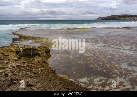Pennington Bay at low tide in stormy weather landscape. Kangaroo Island, South Australia - Stock Photo