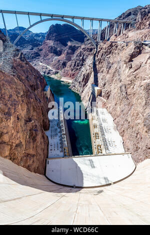 Hoover Dam in United States. Hydroelectric power station on the border of Arizona and Nevada - Stock Photo