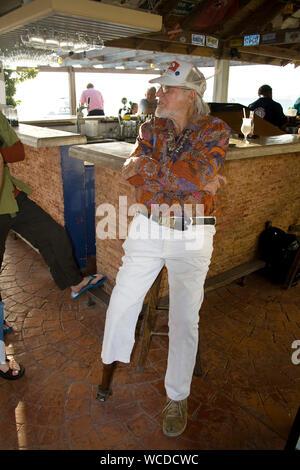 Captain Don, pionier and owner of Captain Don's Habitat, famous Dive hotel and resort, Kralendijk, Bonaire, Netherland Antilles - Stock Photo