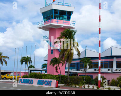 Tower of Flamingo Airport, Bonaire International Airport, Kralendijk, Bonaire, Netherland Antilles - Stock Photo