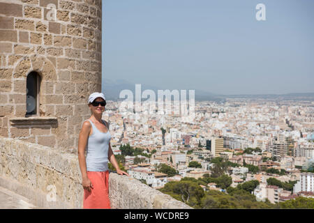 Spain, Mallorca. View of Palma city from Bellver Castle, august 2019. - Stock Photo