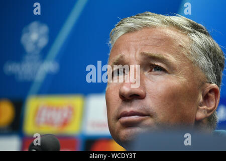 Prague, Czech Republic. 27th Aug, 2019. Head Coach Dan Petrescu (CFR Cluj) speaks during a press conference prior to the UEFA Champions League, 4th qualifying round return match: SK Slavia Prague vs CFR Cluj (Cluj-Napoca), on August 27, 2019, in Prague, Czech Republic. Credit: Michal Kamaryt/CTK Photo/Alamy Live News - Stock Photo