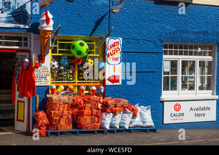 8 August 2019 A colourful village shop trading in small gifts, ice cream and confectionary in Ardglass, County Down Northern Ireland - Stock Photo