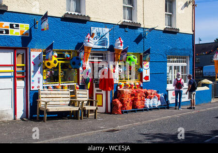 8 August 2019 A colourful village shop itrading in small gifts, ice cream and confectionary in Ardglass, County Down Northern Ireland - Stock Photo