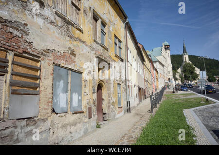 Jachymov, Germany. 08th Aug, 2019. Many houses in the Czech spa and mining town have been left to decay. Others are already being rehabilitated. The Montan region Erzgebirge has been recognised as part of the world cultural heritage since July 2019. (to dpa KORR) Credit: Michael Heitmann/dpa/Alamy Live News - Stock Photo