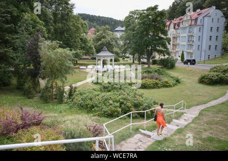 Jachymov, Germany. 08th Aug, 2019. Kuridylle dominates the lower part of the Czech mining town. The Montan region Erzgebirge has been recognised as part of the world cultural heritage since July 2019. (to dpa KORR) Credit: Michael Heitmann/dpa/Alamy Live News - Stock Photo