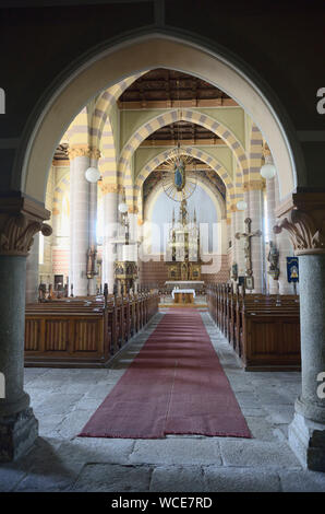 Jachymov, Germany. 08th Aug, 2019. Panoramic view into the town church St. Joachim and St. Anna, which is enthroned above the Czech spa and mining town Jachymov (Sankt Joachimsthal). The Montan region Erzgebirge has been recognised as part of the world cultural heritage since July 2019. (to dpa KORR) Credit: Michael Heitmann/dpa/Alamy Live News - Stock Photo