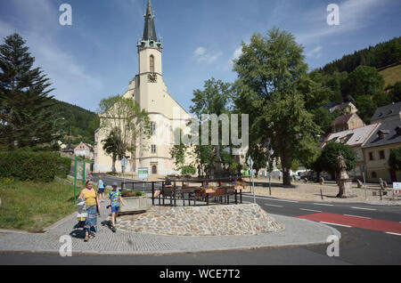 Jachymov, Germany. 08th Aug, 2019. The town church of St. Joachim and St. Anna, here on 9 August 2019, towers over the Czech spa and mining town. The Montan region Erzgebirge has been recognised as part of the world cultural heritage since July 2019. (to dpa KORR) Credit: Michael Heitmann/dpa/Alamy Live News - Stock Photo