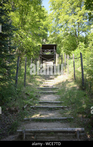 Jachymov, Germany. 08th Aug, 2019. The 'Stairs of Horror' in the Czech spa and mining town connected a camp - first for prisoners of war and later for political prisoners - with the mine where people had to mine uranium underground under the most difficult conditions in the 1950s. The Montan region Erzgebirge has been recognised as part of the world cultural heritage since July 2019. (to dpa KORR) Credit: Michael Heitmann/dpa/Alamy Live News - Stock Photo