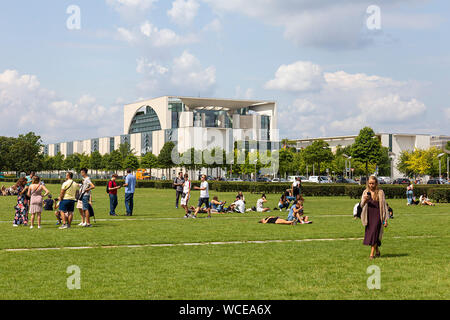 Tourists in front of the Federal Chancellery, GERMANY, BERLIN, 02.08.2019. - Stock Photo