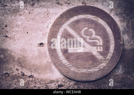 Close Up Of No Smoking Sign On Wall - Stock Photo