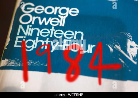 George Orwell's 1984 book cover. - Stock Photo