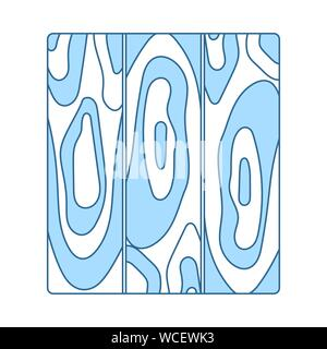 Icon Of Parquet Plank Pattern. Thin Line With Blue Fill Design. Vector Illustration.