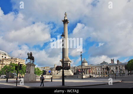 Trafalgar square in London city, England - Stock Photo