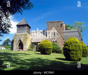 Thatched All Saints Church, Brockhampton, Herefordshire. Designed by William Lethaby in the Arts and Craft style1902. - Stock Photo