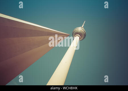 Fernsehturm TV tower at Alexanderplatz in Berlin. 10th October 2015. Bottom low perspective with cross angle - Stock Photo
