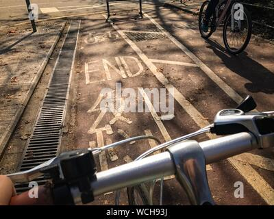 Close-up Of Bicycle Handlebar - Stock Photo
