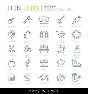 Collection of garden thin line icons - Stock Photo