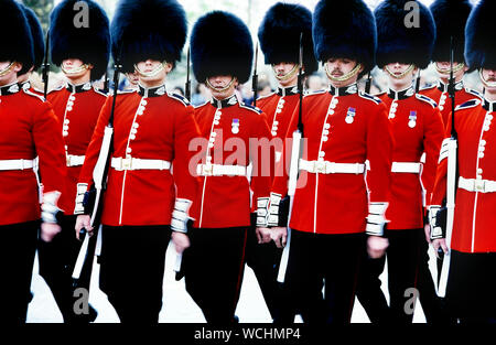 Changing of the Guard at Buckingham Palace, London, England, UK. Circa 1980's - Stock Photo