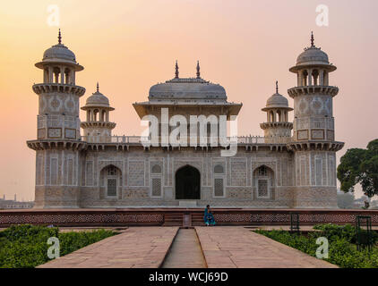 The absolutely beautifully decorated exterior of the Itimad-ud-Daulah Tomb (Baby Taj), at sun set, Agra, Uttar Pradesh, India, Central Asia - Stock Photo