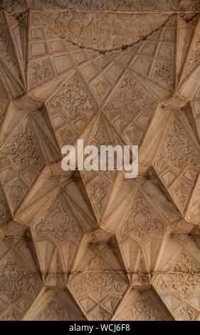 Beautifully delicate stone carving on the ceiling, inside the Itimad-ud-Daulah Tomb (Baby Taj), Agra, Uttar Pradesh, India, Central Asia - Stock Photo