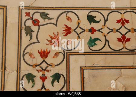 Close up detail of floral inlay frieze of semi-precious stones, Taj Mahal, Agra, Utter Pradesh, India, Central Asia - Stock Photo