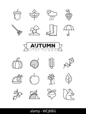 Autumn line icons set. Collection of fall related objects, plants and animals illustrations. Seasonal vector symbols. - Stock Photo