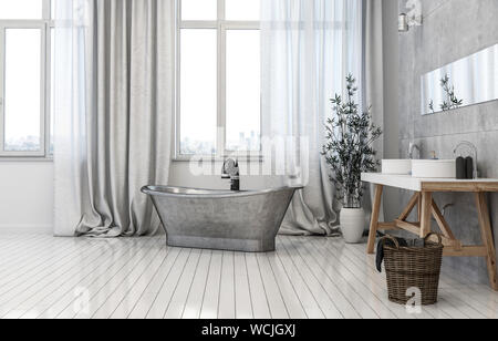 Modern monochrome grey bathroom interior with a freestanding vintage style metal tub, trestle vanities and mirror in front of tall windows whit curtai - Stock Photo
